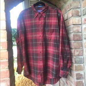 🐻PENDLETON FLANNEL plaid button up down shirt
